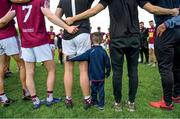 "9 June 2019; The inner circles. Senan Lawlor, aged three from Rosemount, joins a relaxed Westmeath team huddle following their routine qualifier win over Waterford United . Photo by Harry Murphy/Sportsfile This image may be reproduced free of charge when used in conjunction with a review of the book ""A Season of Sundays 2019"". All other usage © SPORTSFILE"
