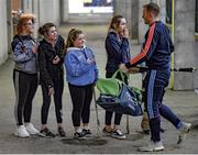 """9 March 2019; The star attraction. All-Ireland champions Limerick find there's  a welcoming party to greet them on their arrival in O'Moore Park. The hosts find the going tough on the night in question. Photo by Stephen McCarthy/Sportsfile. This image may be reproduced free of charge when used in conjunction with a review of the book """"A Season of Sundays 2019"""". All other usage © SPORTSFILE"""