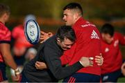 12 November 2019; Peter O'Mahony tackles Conor Oliver during a Munster Rugby squad training session at University of Limerick in Limerick. Photo by Brendan Moran/Sportsfile
