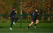 12 November 2019; JJ Hanrahan, left, and Andrew Conway during a Munster Rugby squad training session at University of Limerick in Limerick. Photo by Brendan Moran/Sportsfile