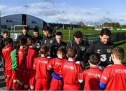 12 November 2019; It's not every day you get to meet your football heroes. Tuesday was that day for a select group of schoolchildren after winning the SPAR Play like a Pro competition to take part in an exclusive training session and meet the Irish senior football team at their Abbotstown base ahead of Thursday night's friendly match against New Zealand and next week's UEFA EURO Qualifier versus Denmark. Republic of Ireland players, from left, Conor Hourihane, Troy Parrott, John Egan, Jack Byrne, Alan Browne and Robbie Brady with participants who were winners of the recent SPAR Play Like A Pro competition. Photo by Stephen McCarthy/Sportsfile