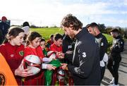 12 November 2019; It's not every day you get to meet your football heroes. Tuesday was that day for a select group of schoolchildren after winning the SPAR Play like a Pro competition to take part in an exclusive training session and meet the Irish senior football team at their Abbotstown base ahead of Thursday night's friendly match against New Zealand and next week's UEFA EURO Qualifier versus Denmark. Republic of Ireland's Jeff Hendrick with participants who were winners of the recent SPAR Play Like A Pro competition. Photo by Stephen McCarthy/Sportsfile