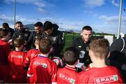 12 November 2019; It's not every day you get to meet your football heroes. Tuesday was that day for a select group of schoolchildren after winning the SPAR Play like a Pro competition to take part in an exclusive training session and meet the Irish senior football team at their Abbotstown base ahead of Thursday night's friendly match against New Zealand and next week's UEFA EURO Qualifier versus Denmark. Republic of Ireland players, from left, Conor Hourihane, Troy Parrott, John Egan and Jack Byrne with participants who were winners of the recent SPAR Play Like A Pro competition. Photo by Stephen McCarthy/Sportsfile
