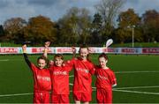 12 November 2019; It's not every day you get to meet your football heroes. Tuesday was that day for a select group of schoolchildren after winning the SPAR Play like a Pro competition to take part in an exclusive training session and meet the Irish senior football team at their Abbotstown base ahead of Thursday night's friendly match against New Zealand and next week's UEFA EURO Qualifier versus Denmark. Pictured during the training session were, from left, Zoe Slyne, Emilie Slyne, Katie Sherlock and Abi Ward, from Tallaght Dublin, who were winners of the recent SPAR Play Like A Pro competition. Photo by Stephen McCarthy/Sportsfile