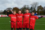 12 November 2019; It's not every day you get to meet your football heroes. Tuesday was that day for a select group of schoolchildren after winning the SPAR Play like a Pro competition to take part in an exclusive training session and meet the Irish senior football team at their Abbotstown base ahead of Thursday night's friendly match against New Zealand and next week's UEFA EURO Qualifier versus Denmark. Pictured during the training session were, from left, Zach Kelly, Ethan Palmer, Adam Fuery and Cillian Rochford, from Kill, Kildare, who were winners of the recent SPAR Play Like A Pro competition. Photo by Stephen McCarthy/Sportsfile
