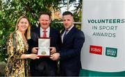 12 November 2019; Mark Lawlor of Belturbet Rory O'Moores GFC, Co. Cavan, is presented with their award by Mary O'Connor, CEO of the Federation of Irish Sport, and Richard Gernon, Regional Manager EBS, during the Volunteers in Sport Awards presented by Federation of Irish Sport with EBS at Farmleigh House in Phoenix Park, Dublin. Photo by Sam Barnes/Sportsfile