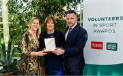 12 November 2019; Mary Dunne of Ballina Dolphins Swimming Club, Co. Mayo, is presented with their award by Mary O'Connor, CEO of the Federation of Irish Sport, and Richard Gernon, Regional Manager EBS, during the Volunteers in Sport Awards presented by Federation of Irish Sport with EBS at Farmleigh House in Phoenix Park, Dublin. Photo by Sam Barnes/Sportsfile