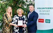 12 November 2019; Mary O'Donnell of Carrick-on-Shannon AC, Co. Leitrim, is presented with their award by Mary O'Connor, CEO of the Federation of Irish Sport, and Richard Gernon, Regional Manager EBS, during the Volunteers in Sport Awards presented by Federation of Irish Sport with EBS at Farmleigh House in Phoenix Park, Dublin. Photo by Sam Barnes/Sportsfile