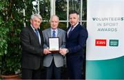 12 November 2019; Gerry Tuohy from Sligo is presented with their award by Roddy Guiney, Chairperson of the Federation of Irish Sport, left, and Richard Gernon, Regional Manager EBS, during the Volunteers in Sport Awards presented by Federation of Irish Sport with EBS at Farmleigh House in Phoenix Park, Dublin. Photo by Sam Barnes/Sportsfile