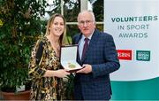 12 November 2019; Eamonn Bolger from Roscommon is presented with their award by Mary O'Connor, CEO of the Federation of Irish Sport, during the Volunteers in Sport Awards presented by Federation of Irish Sport with EBS at Farmleigh House in Phoenix Park, Dublin. Photo by Sam Barnes/Sportsfile
