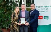 12 November 2019; Paul Cummins of Kilkenny Storm Ice Hockey, Co. Kilkenny, is presented with their award by Mary O'Connor, CEO of the Federation of Irish Sport, and Richard Gernon, Regional Manager EBS, during the Volunteers in Sport Awards presented by Federation of Irish Sport with EBS at Farmleigh House in Phoenix Park, Dublin. Photo by Sam Barnes/Sportsfile