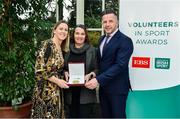 12 November 2019; Nemone Van Der Bliake from Wexford is presented with their award by Mary O'Connor, CEO of the Federation of Irish Sport, and Richard Gernon, Regional Manager EBS, alongside her husband, Conor, during the Volunteers in Sport Awards presented by Federation of Irish Sport with EBS at Farmleigh House in Phoenix Park, Dublin. Photo by Sam Barnes/Sportsfile