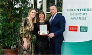 12 November 2019; Sinead McGrath from Mayo is presented with their award by Mary O'Connor, CEO of the Federation of Irish Sport, and Richard Gernon, Regional Manager EBS during the Volunteers in Sport Awards presented by Federation of Irish Sport with EBS at Farmleigh House in Phoenix Park, Dublin. Photo by Sam Barnes/Sportsfile