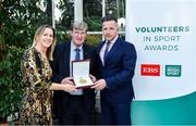 12 November 2019; Tommy Murphy from Carlow is presented with their award by Mary O'Connor, CEO of the Federation of Irish Sport, and Richard Gernon, Regional Manager EBS, during the Volunteers in Sport Awards presented by Federation of Irish Sport with EBS at Farmleigh House in Phoenix Park, Dublin. Photo by Sam Barnes/Sportsfile