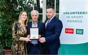 12 November 2019; Eugene Dolan of St Pauls GAA, Co. Westmeath, is presented with their award by Mary O'Connor, CEO of the Federation of Irish Sport, and Richard Gernon, Regional Manager EBS, during the Volunteers in Sport Awards presented by Federation of Irish Sport with EBS at Farmleigh House in Phoenix Park, Dublin. Photo by Sam Barnes/Sportsfile