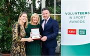 12 November 2019; Mary Davitt of Navan Archery Club, Co. Meath, is presented with their award by Mary O'Connor, CEO of the Federation of Irish Sport, and Richard Gernon, Regional Manager EBS, during the Volunteers in Sport Awards presented by Federation of Irish Sport with EBS at Farmleigh House in Phoenix Park, Dublin. Photo by Sam Barnes/Sportsfile