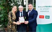 12 November 2019; Kenneth Strong from Co. Tyrone, is presented with their award by Mary O'Connor, CEO of the Federation of Irish Sport, and Richard Gernon, Regional Manager EBS, during the Volunteers in Sport Awards presented by Federation of Irish Sport with EBS at Farmleigh House in Phoenix Park, Dublin. Photo by Sam Barnes/Sportsfile