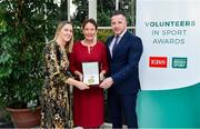 12 November 2019; Bronwyn O'Donnell of Loreto Hockey Club, Co. Dublin is presented with their award by Mary O'Connor, CEO of the Federation of Irish Sport, and Richard Gernon, Regional Manager EBS, during the Volunteers in Sport Awards presented by Federation of Irish Sport with EBS at Farmleigh House in Phoenix Park, Dublin. Photo by Sam Barnes/Sportsfile