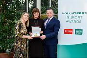 12 November 2019; Yvonne Tierney of Ballinamere Special Olympics Club, Co. Offaly, is presented with their award by Mary O'Connor, CEO of the Federation of Irish Sport, and Richard Gernon, Regional Manager EBS, during the Volunteers in Sport Awards presented by Federation of Irish Sport with EBS at Farmleigh House in Phoenix Park, Dublin. Photo by Sam Barnes/Sportsfile