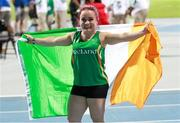 12 November 2019; Team Ireland's Niamh McCarthy, from Carrigaline, Cork, celebrates after finishing third place, to win a bronze medal, in the F41 Discus Final during day six of the World Para Athletics Championships 2019 at Dubai Club for People of Determination Stadium in Dubai, United Arab Emirates. Photo by Ben Booth/Sportsfile
