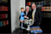 12 November 2019; In attendance at the Launch of A Season of Sundays 2019 at Croke Park in Dublin, is Uachtarán Cumann Lúthchleas Gael, John Horan, right, alongside Sportsfile's Ray McManus, and his grandson Rian Cuddihy, aged 2, from Harold's Cross, Dublin. Photo by Sam Barnes/Sportsfile