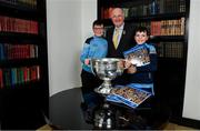 12 November 2019; In attendance at the Launch of A Season of Sundays 2019 at Croke Park in Dublin, is Uachtarán Cumann Lúthchleas Gael, John Horan, with Alan O'Brien, right, aged 11, and Paul O'Brien, aged 13, from the Navan Road, in Dublin. Photo by Sam Barnes/Sportsfile