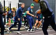 13 November 2019; Jack Carty, left, and Ultan Dillane during a Connacht Rugby squad training session at The Sportsground in Galway. Photo by Brendan Moran/Sportsfile