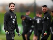 13 November 2019; Robbie Brady, left, and Enda Stevens during a Republic of Ireland training session at the FAI National Training Centre in Abbotstown, Dublin. Photo by Stephen McCarthy/Sportsfile