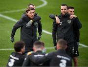 13 November 2019; Republic of Ireland players, from left, Jeff Hendrick, Glenn Whelan, Shane Duffy and Alan Browne during a Republic of Ireland training session at the FAI National Training Centre in Abbotstown, Dublin. Photo by Stephen McCarthy/Sportsfile