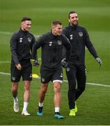 13 November 2019; James Collins with Alan Browne, left, and Shane Duffy, right, during a Republic of Ireland training session at the FAI National Training Centre in Abbotstown, Dublin. Photo by Stephen McCarthy/Sportsfile