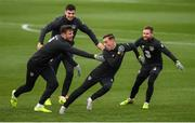 13 November 2019; Lee O'Connor with team-mates Kevin Long, John Egan and Alan Judge, right, during a Republic of Ireland training session at the FAI National Training Centre in Abbotstown, Dublin. Photo by Stephen McCarthy/Sportsfile