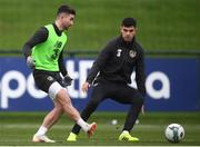 13 November 2019; Sean Maguire and John Egan, right, during a Republic of Ireland training session at the FAI National Training Centre in Abbotstown, Dublin. Photo by Stephen McCarthy/Sportsfile