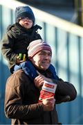 14 November 2019; Harry Mulcahy age 3 from Killeagh Co Cork with his dad Pat at Clonmel Racecourse in Tipperary. Photo by Matt Browne/Sportsfile