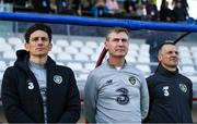 14 November 2019; Republic of Ireland head coach Stephen Kenny, centre, with assistant coaches Keith Andrews, left, and Jim Crawford, right prior to the UEFA European U21 Championship Qualifier Group 1 match between Armenia and Republic of Ireland at the FFA Academy Stadium in Yerevan, Armenia. Photo by Harry Murphy/Sportsfile