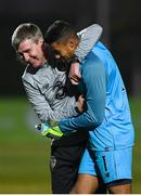 14 November 2019; Republic of Ireland head coach Stephen Kenny and Gavin Bazunu of Republic of Ireland embrace following the UEFA European U21 Championship Qualifier Group 1 match between Armenia and Republic of Ireland at the FFA Academy Stadium in Yerevan, Armenia. Photo by Harry Murphy/Sportsfile