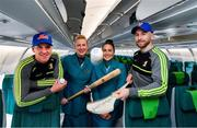 14 November 2019; Kilkenny hurlers departed Dublin Airport for New York today onboard Aer Lingus flight EI105. This is the fourth year that Aer Lingus is involved in the Hurling Classic and sees Ireland's only 4-Star airline as the Official Airline of the New York Hurling Classic. Matches take place in Citi Field, home of the New York Mets, on November 16th and are played in the Super 11s format. Limerick will be looking to retain the Hurling Classic title they won in 2018 as they take on Wexford in the first semi-final. Reigning All-Ireland champions Tipperary play Kilkenny in the second semi-final, followed by the final later that day. Pictured is Aer Lingus Cabin Service Manager Gwen Reynolds, 2nd from left, and Cabin Crew member Holly Sheridan with Kilkenny players Eoin Murphy, left, and Conor Fogarty. Photo by Brendan Moran/Sportsfile