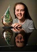 14 November 2019; Lauren Garland of Donaghmoyne with The Croke Park / LGFA Player of the Month award for October at The Croke Park hotel on Jones Road in Dublin. Lauren was a key player for Monaghan club Donaghmoyne as they retained the Ulster Senior Club Championship title in October. Lauren scored two crucial points in the Provincial Final victory over Donegal's Termon. Photo by David Fitzgerald/Sportsfile