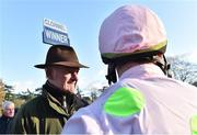 14 November 2019; Trainer Willie Mullins with Paul Townend after winning the Clonmel Oil Steeplechase with Douvan at Clonmel Racecourse in Tipperary. Photo by Matt Browne/Sportsfile