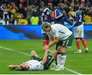 18 November 2009; Richard Dunne and Liam Lawrence, right, Republic of Ireland react after the game. FIFA 2010 World Cup Qualifying Play-off 2nd Leg, Republic of Ireland v France, Stade de France, Saint-Denis, Paris, France. Picture credit: Stephen McCarthy / SPORTSFILE