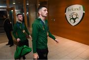 14 November 2019; Troy Parrott, centre, and Jack Byrne of Republic of Ireland arrive before the 3 International Friendly match between Republic of Ireland and New Zealand at the Aviva Stadium in Dublin. Photo by Stephen McCarthy/Sportsfile