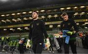 14 November 2019; Kieran O'Hara, left, and Mark Travers of Republic of Ireland prior to the 3 International Friendly match between Republic of Ireland and New Zealand at the Aviva Stadium in Dublin. Photo by Stephen McCarthy/Sportsfile