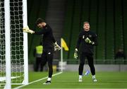 14 November 2019; Mark Travers, right, and Kieran O'Hara of Republic of Ireland warming up ahead of the 3 International Friendly match between Republic of Ireland and New Zealand at the Aviva Stadium in Dublin. Photo by Eóin Noonan/Sportsfile