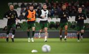 14 November 2019; Fitness coach Andy Liddle, left, with, from left to right, Alan Browne, Troy Parrott, Callum Robinson and Lee O'Connor of Republic of Ireland prior to the 3 International Friendly match between Republic of Ireland and New Zealand at the Aviva Stadium in Dublin. Photo by Stephen McCarthy/Sportsfile