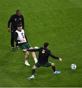 14 November 2019; Republic of Ireland assistant coach Terry Connor watches Troy Parrott, centre, and Robbie Brady of Republic of Ireland warm up before the 3 International Friendly match between Republic of Ireland and New Zealand at the Aviva Stadium in Dublin. Photo by Ben McShane/Sportsfile