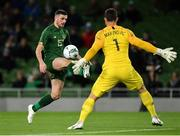 14 November 2019; Troy Parrott of Republic of Ireland in action against Stefan Marinovic of New Zealand during the International Friendly match between Republic of Ireland and New Zealand at the Aviva Stadium in Dublin. Photo by Seb Daly/Sportsfile