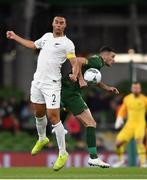 14 November 2019; Troy Parrott of Republic of Ireland in action against Winston Reid of New Zealand during the International Friendly match between Republic of Ireland and New Zealand at the Aviva Stadium in Dublin. Photo by Eóin Noonan/Sportsfile