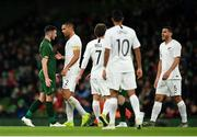 14 November 2019; Troy Parrott of Republic of Ireland with Winston Reid of New Zealand during the International Friendly match between Republic of Ireland and New Zealand at the Aviva Stadium in Dublin. Photo by Eóin Noonan/Sportsfile
