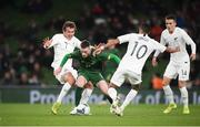 14 November 2019; Jack Byrne of Republic of Ireland in action against Joe Bell and Sarpreet Singh, right, of New Zealand during the 3 International Friendly match between Republic of Ireland and New Zealand at the Aviva Stadium in Dublin. Photo by Stephen McCarthy/Sportsfile