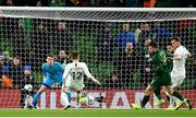 14 November 2019; Callum McCowatt of New Zealand shoots to score his side's first goal, past Kieran O'Hara of Republic of Ireland, during the International Friendly match between Republic of Ireland and New Zealand at the Aviva Stadium in Dublin. Photo by Seb Daly/Sportsfile