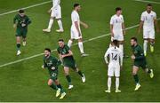 14 November 2019; Derrick Williams of Republic of Ireland celebrates after scoring his side's first goal with team-mates Sean Maguire, Troy Parrott and Kevin Long  during the 3 International Friendly match between Republic of Ireland and New Zealand at the Aviva Stadium in Dublin. Photo by Ben McShane/Sportsfile